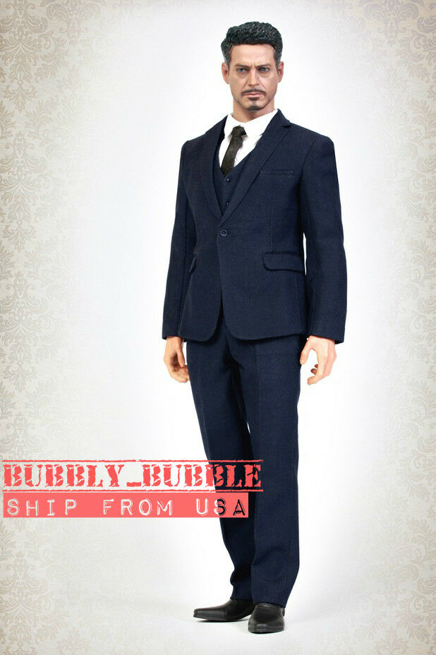 1 6 Men Business Suit Set NAVY For 12  Hot Toys PHICEN Worldbox Male Figure USA