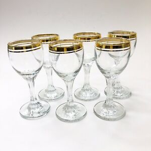 Set-Of-6-Gold-Rimmed-Sherry-Cocktail-Glasses-Double-Banded