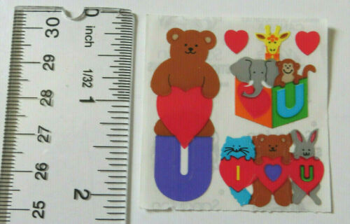 Square of Vintage Stickers RETIRED Sandylion BABY BEAR /& FRIENDS /'I LOVE YOU/'