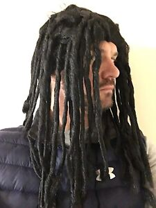 mens long rasta reggae wig fancy dress black ruud dreadlocks gullit
