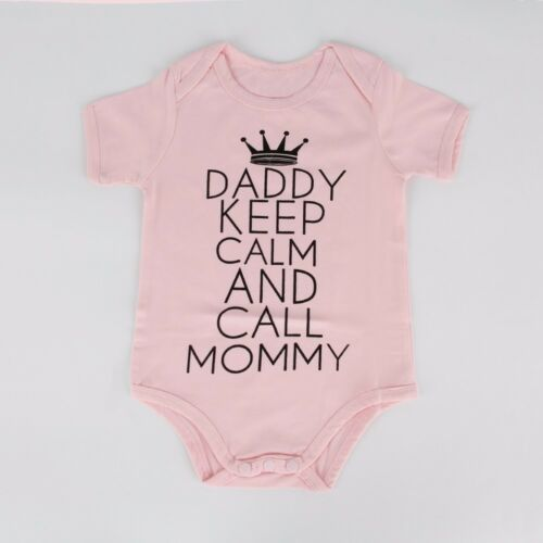 Daddy Keep Calm And Call Mommy Funny Baby Romper Creeper Bodysuit