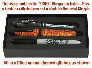 Sherpa Pen Holder #9644 - Tiger / Gift Boxed with Sharpie and Rollerball Pen