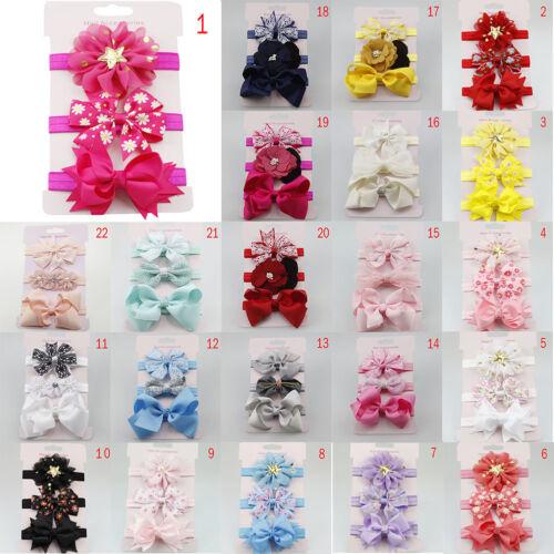 3Pcs//Set Baby Girl Headband Elastic Bowknot Turban Kid Stretchy Flower Hairband