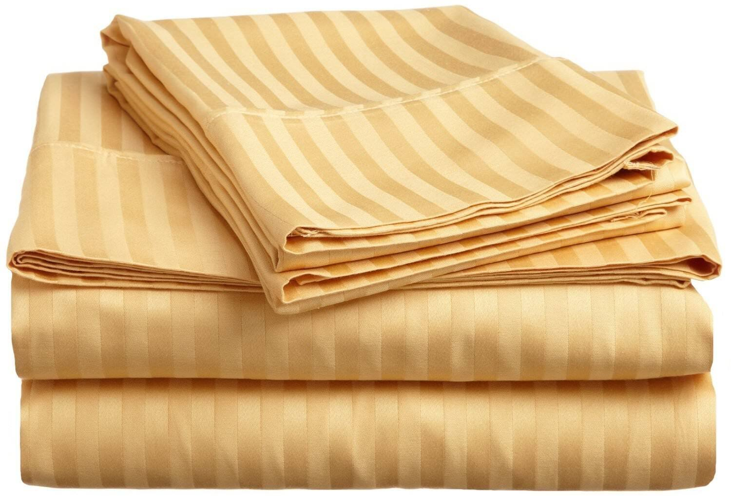 New Twin - Full - King - Queen Sizes 4PCs Sheet Set 1000TC gold color