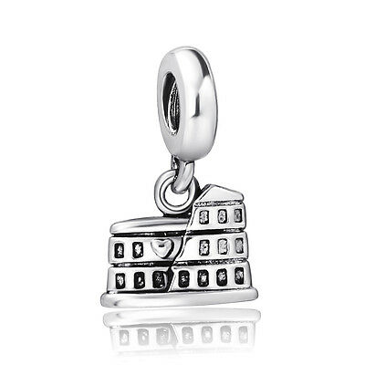 Silver Rome Colosseo European charm bead For Bracelet/Necklace snake Chain UK