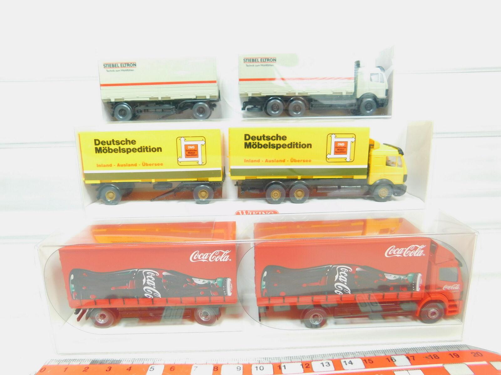 BN36-0,5  3x Wiking H0 1 87 Lastzug Mercedes MB  571  573  Coca-Cola, NEUW