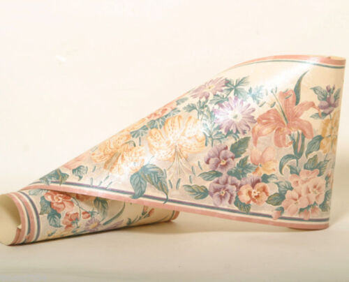Pansy Iris Lily Rose Floral Flower Silk Peach Salmon Color Wall paper Border