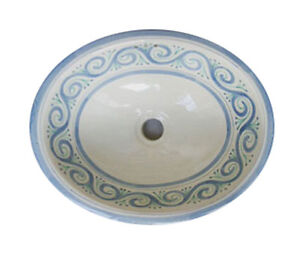 Details About 053 Large Bathroom Sink 21x17 Mexican Ceramic Hand Paint Drop In Undermount