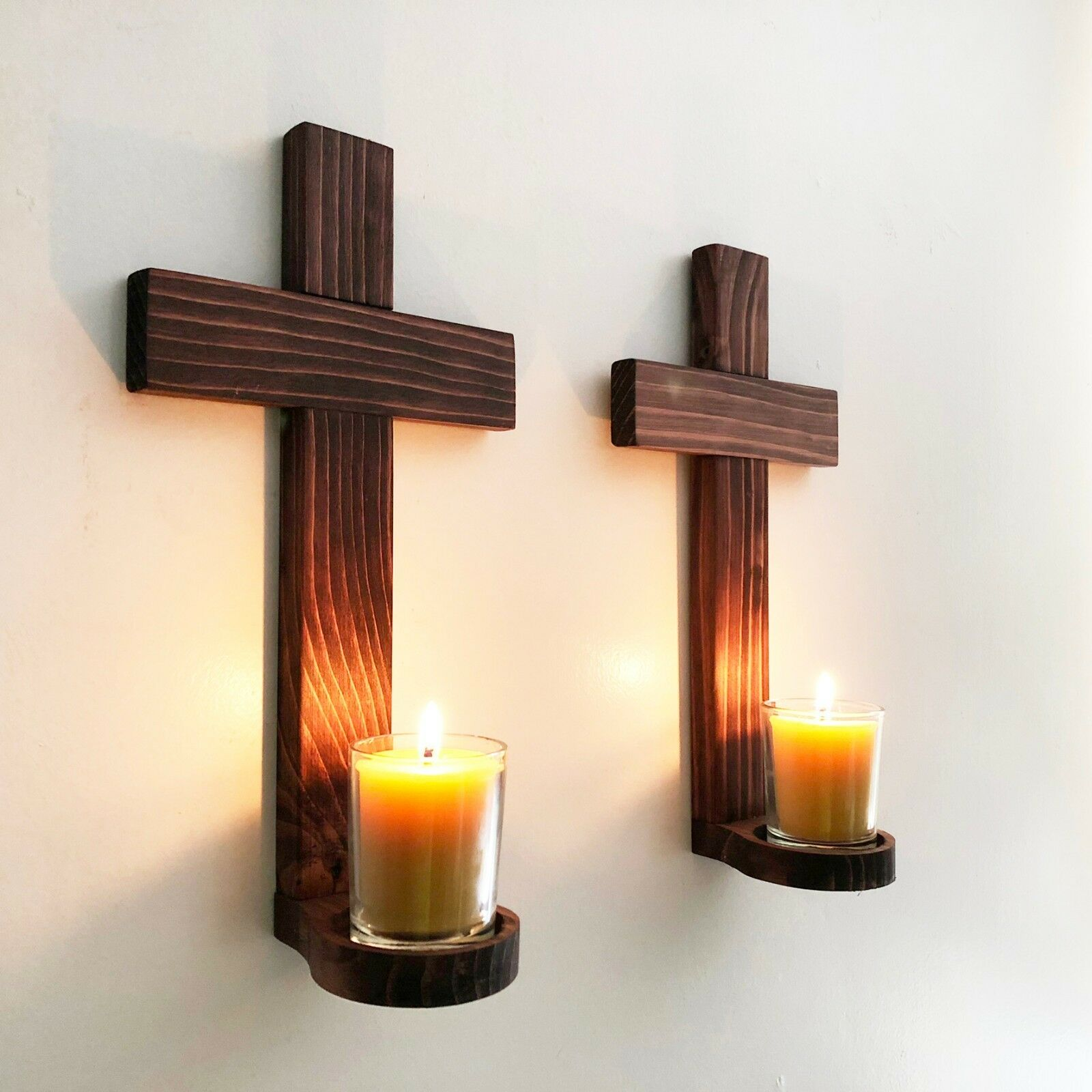 Set of Two Hand Crafted Wooden Wall Crosses Votive Candle Holders