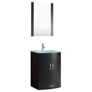 Details About 24 Bathroom Vanity Cabinet With Gl Top And Mirror Black By Lesscare
