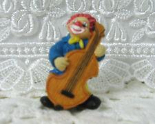 "Clown with Cello Vintage Santini Italy Style 2"" Miniature Figurine"