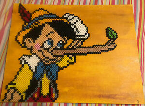 Pinocchio Handmade Craft Beaded Picture Rare Vintage One Of A Kind Walt Disney