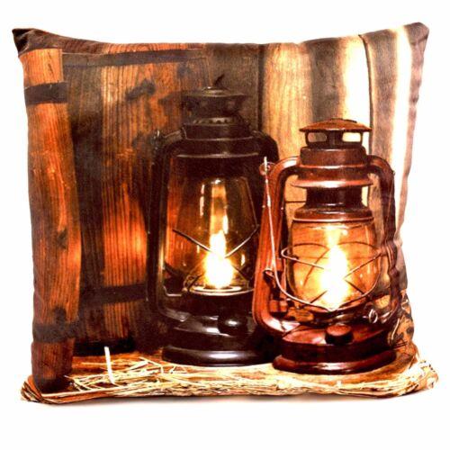 LED THROW PILLOW w//Light  6 Hour Timer Western Lanterns Barrel ~ 15 x 15