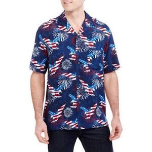 d49addf5 Image is loading America-Eagle-Print-Hawaiian-Camp-Shirt-Fireworks-Patriotic -