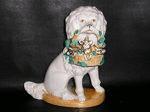 Antique-German-Porcelain-Poodle-Dog-with-Basket-of-Pigs