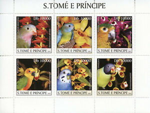 Sao-Tome-amp-Principe-2003-MNH-Parrots-amp-Orchids-6v-M-S-Flowers-Birds-Stamps