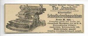 Werbung-1895-THE-CRANDALL-SCHREIBMASCHINE-Hist-Annonce-Reklame