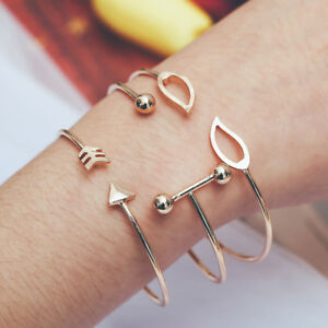 3PCS-Set-Cuff-Opening-Arrow-Leaves-Bangle-Bracelet-Women-Wristband-Jewelry