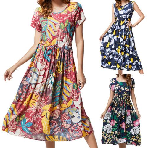 Damen Ärmellos Kleid Sommer Freizeitkleid Blumen Lang Tunika Midikleid Übergröße