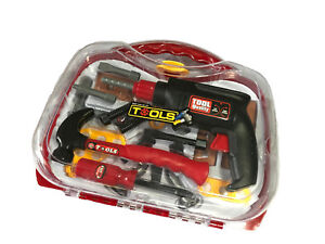 BOYS-KIDS-CHILDRENS-ROLE-PLAY-BUILDER-TOY-23pc-TOOL-SET-amp-CARRY-CASE-WITH-DRILL
