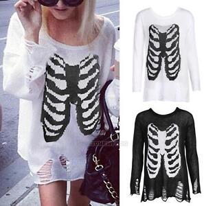 Womens-Halloween-Skeleton-Long-Sleeves-Ladies-Knitted-Sweater-Long-Jumper-Tops
