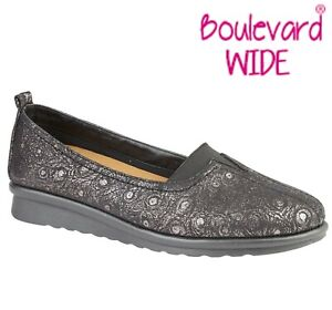 SALE-LADIES-Wide-EEE-Fit-Padded-Slip-On-Shoes-Black-Patterned-Size-3-4-5-6-7-8