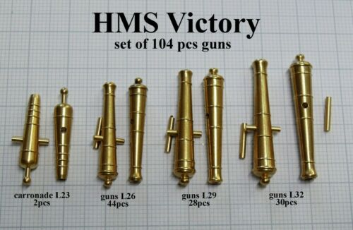 set of 104 pcs Brass gun barrels for model Heller HMS Victory 1:100