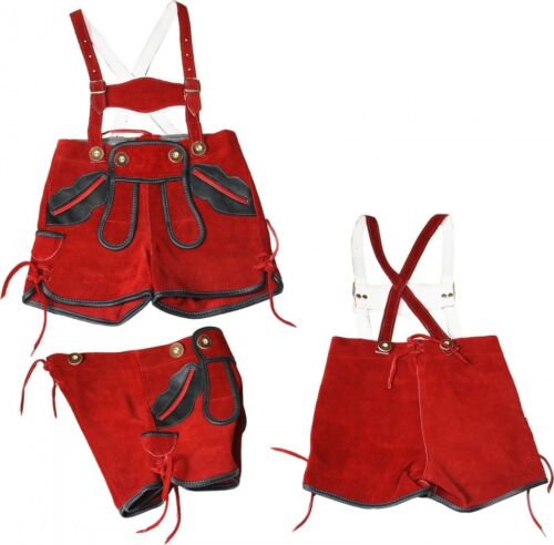 Peter Trachten Breve Trachten Pelle Pantaloni portante Bambini Rosso di St