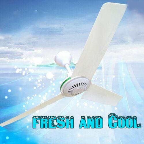 12V 20/'/' Solar Ceiling Fan Portable 3 Blade w// 6W Switch Camping Caravan 330 RPM