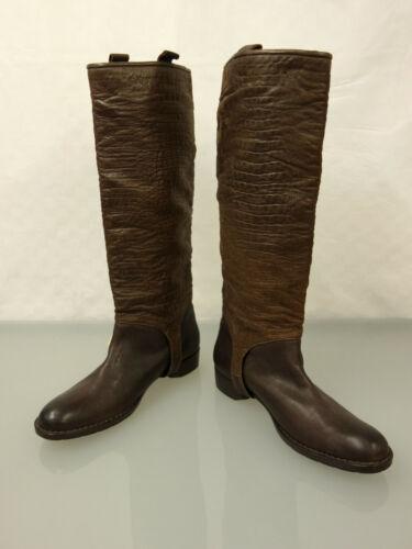 Henry Beguelin Designer botas de cuero talla 39,5 botas zapatos Braun krokoprägung