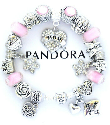 pink Round MOM Silver European Charm Beads