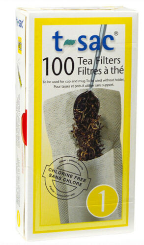 Size 1 T-Sac Disposible Paper Loose Leaf Tea Filter Bags 100 Count