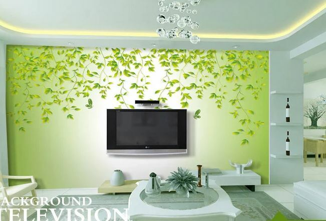 3D foglie verdi 2 Parete Murale Foto Carta da parati immagine sfondo muro stampa