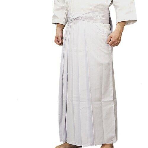 Japan Kendo Cotton blend Salt White Hakama Uniform Pants Samurai Garment Trouser
