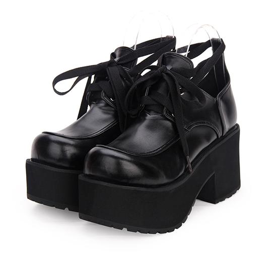 Punk para Damas Plataforma Taco de Bloque de Alto Zapato Zapato Zapato con cordones punta rojoonda poliuretano negro sólido Casual  Entrega gratuita y rápida disponible.