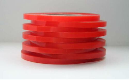 3mm Red Double Sided Adhesive Sticky Tape Easy Lift Super Strong EXTRA LONG 50m