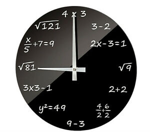Funk-Wanduhr-Funkuhr-Funkwanduhr-Algebra-Mathematik-Wurzeln-Formeln-Rechnen-Glas