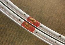 Vintage set (2) NOS NEW Mavic Monthlery Pro silver 32 tubular sew up rims rimset