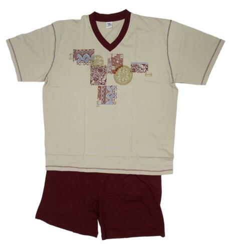 Nouveau Hommes Grande taille pyjama Shorty T-shirt avec pantalon beige bordeaux taille 68,70