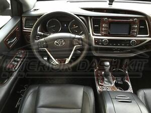 toyota highlander se le xle interior burl wood dash trim kit set 2014 2015 2016. Black Bedroom Furniture Sets. Home Design Ideas