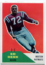 1960 Fleer ED DENK #125 RC Boston Patriots Rare Error KENNETH FORD 50 Wrong Back