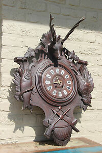 antique-German-1900-Black-forest-wood-carved-Wall-clock-hunting-trophy-fish-bird