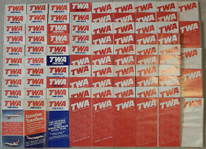 TWA-timetable-lot-every-issue-from-the-1980s-except-one-fair-condition