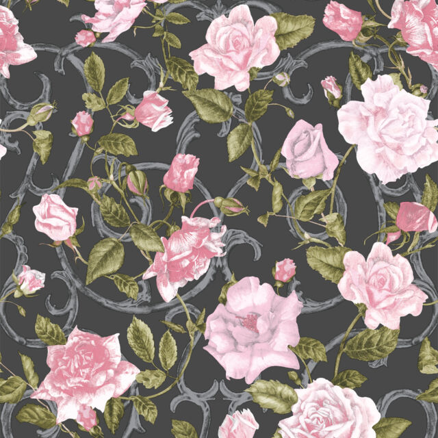 Rose Trellis Black And Pink Flower Wallpaper By Muriva 135501 Ebay