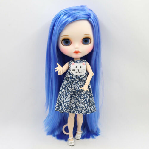 Blythe Nude Doll from Factory Blue Mixed Purple Long Hair With Make-up Eyebrow
