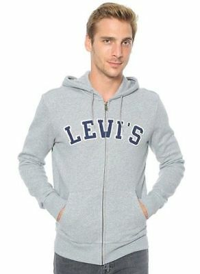 New Mens Levi/'s 19625 Gray Navy Applique Logo Terry Full Zip Hoodie Jacket XS-M