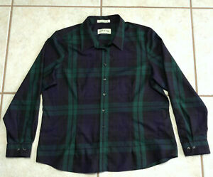 Orvis-Womens-Button-Up-Plaid-Blouse-Long-Sleeve-Top-Shirt-Size-20