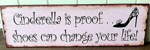 De Metal Vintage Rosa De Pared signo Cenicienta es la prueba de Zapatos puede cambiar tu vida!