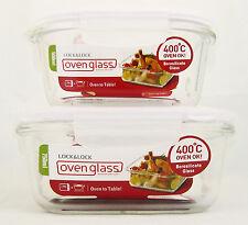 Lock & Lock 2er Set Quadratisches Glas Aufbewahrungs Behälter Ofen Geschirr