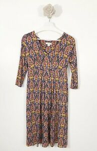 Ladies-Monsoon-Empire-Dress-3-4-Sleeves-Navy-Mix-Size-12-UK-Mustard-occasion